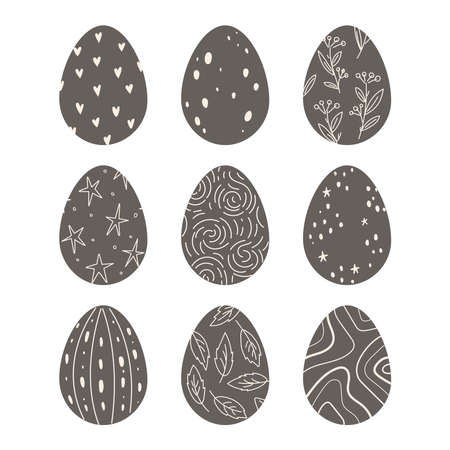 Dark, chocolate Easter eggs decorated with simple ornamentation. Spring holiday. Flat design, vector illustration 일러스트