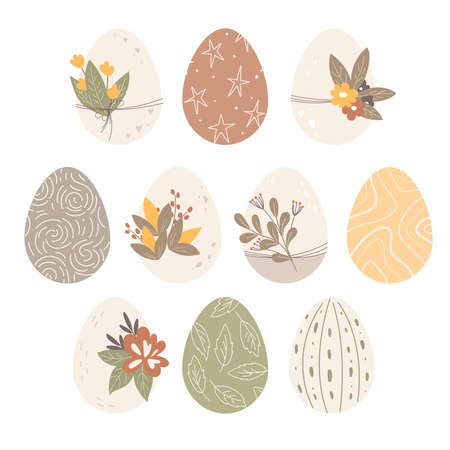 Decorated Easter eggs. Plants and flowers prints and decor. Spring holiday. Happy easter eggs