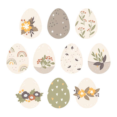 Set of Easter eggs with different decor and texture. Happy Easter. Vector Illustration.