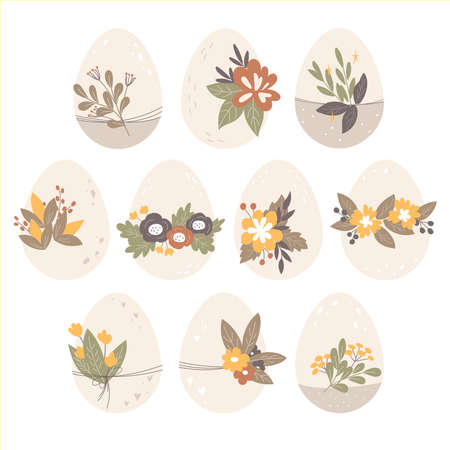 Easter eggs decorated with flowers, leaves and berries. Spring holiday. Flat design, vector illustration