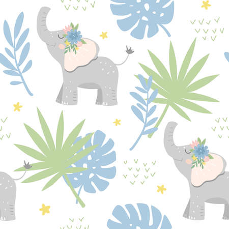 Seamless childish pattern with baby elephants in the jungle. Good for textiles, fabrics, wallpaper. Flat design, vector illustration 일러스트