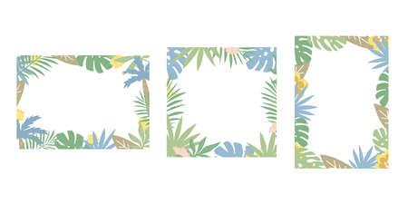 Set of rectangular frames with jungle plants. Flat design, vector illustration