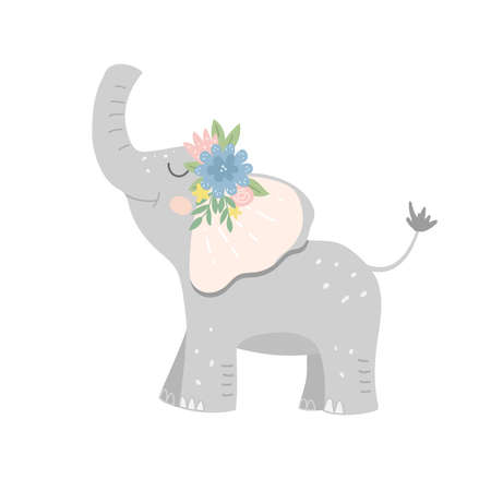 Baby elephant decorated with a wreath of blooming flowers. Childish vector illustration for apparel design, poster, wall art.