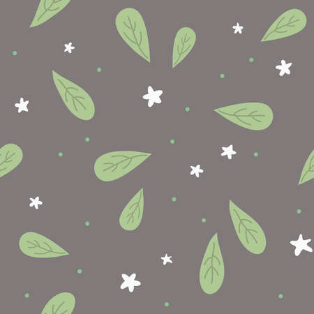 Seamless pattern with leaves. Ð¡artoon kids style. Black background. Great for fabric, textile. Vector Illustration