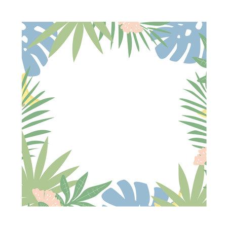 Tropical leaves square frame. Flat design, vector illustration