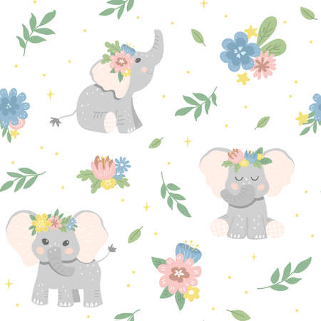 Seamless flower pattern with baby elephants. Good for textiles, fabrics, wallpaper. Flat design, vector illustration 일러스트