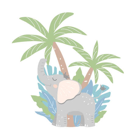 Smiling baby elephant with jungle objects - tropical plants, leaves and palm. Flat vector illustration