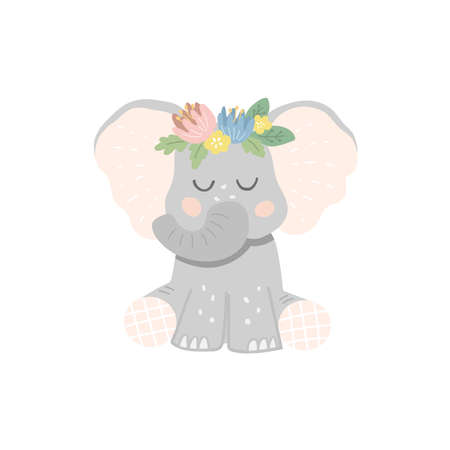 Cute sitting baby elephant with a wreath of flowers on his head. Vector illustration in cartoon style