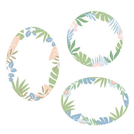 Set of rounded floral tropical frames. Leaves of exotic plants. Flat design, vector illustration