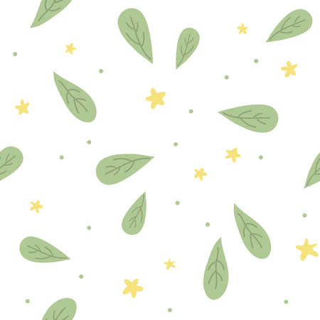 Seamless pattern with leaves. Ð¡artoon kids style. Great for fabric, textile. Vector Illustration