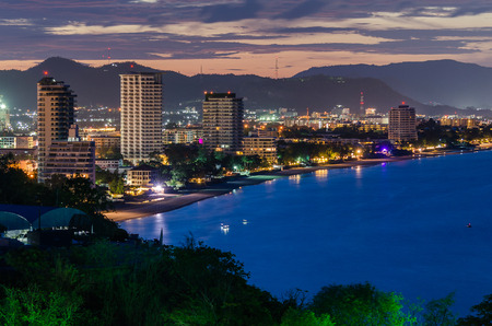 Hua Hin city in twilight, Thailand with cloud photo