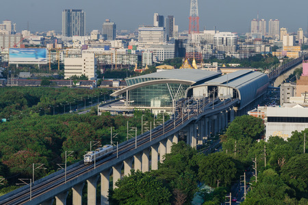 Airport Link train in Bangkok, Thailand top view photo