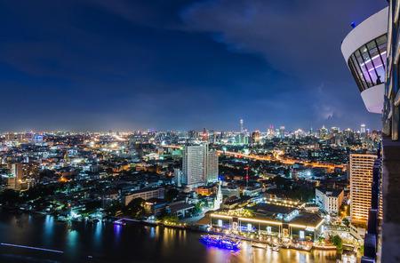 Strom: Bangkok cityscape at night and strom Stock Photo