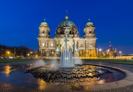 Berlin Cathedral (Berliner Dom) panorama at Night with fountain photo