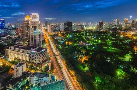Bangkok and Lumpini park at night photo