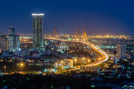 Bhumibol Bridge in Thailand at night photo
