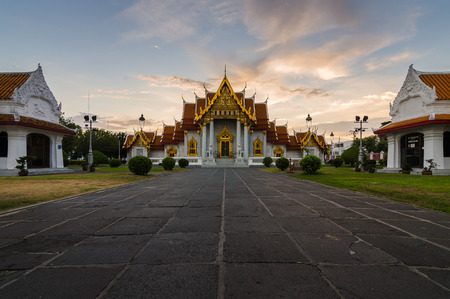 Thai Temple Wat Benchamabophit in Bangkok, Thailand photo