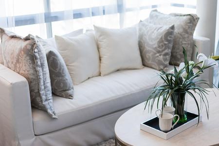 glass vase in modern white living room photo