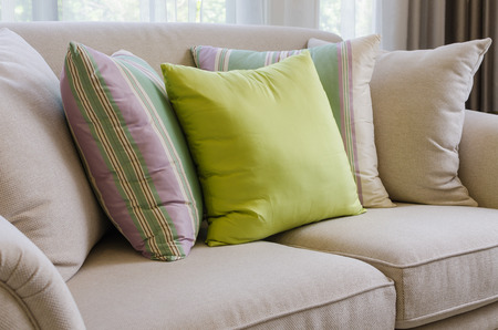 Pillow on sofa at home photo