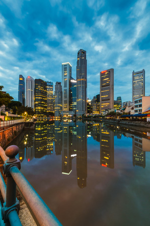 Singapore cityscape with reflection photo