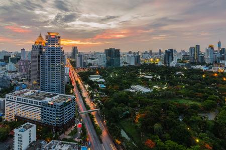Sunset and beautiful cloud in Bangkok with Lumpini park photo