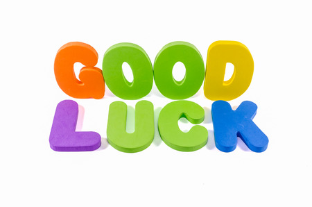 good luck: good luck words colorful on white background