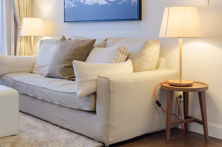 living room with earth tone color sofa