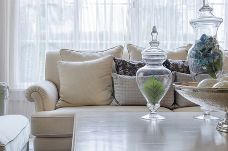 luxury earth tone color sofa in living room 写真素材