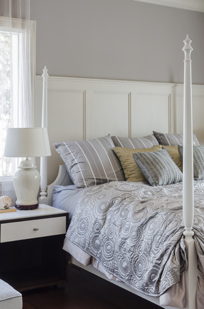 king size: luxury king size bed with white lamp at home
