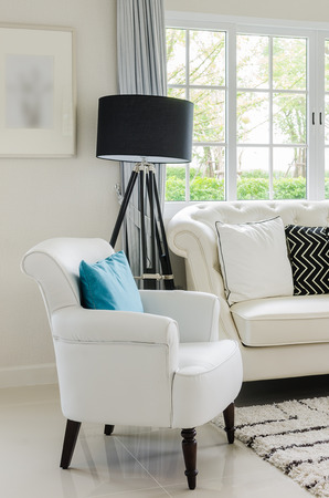 luxury white chair in living room with at home photo