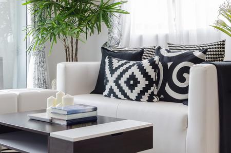 modern black and white living room at home Standard-Bild