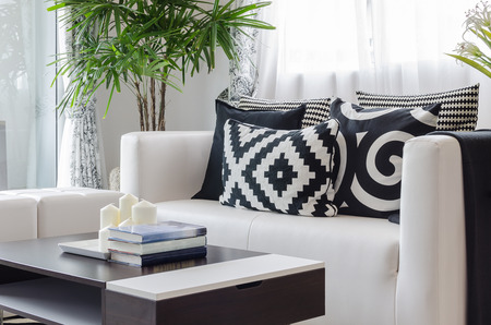 modern black and white living room at home Archivio Fotografico