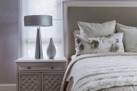 hotel bedroom: modern interior white bedroom Stock Photo