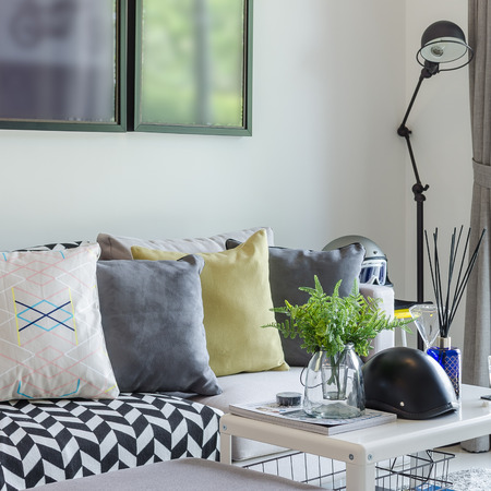 modern living room with row of pillows on sofa photo
