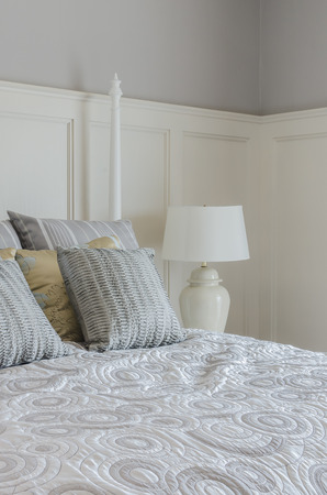 king size: pillows on king size bed in bedroom at home