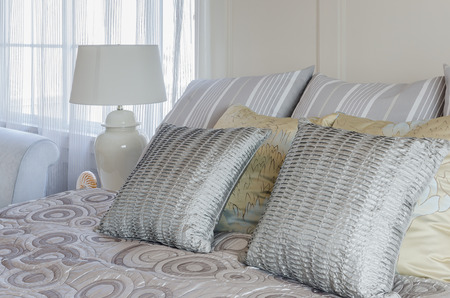 king size: pillows on king size bed at home
