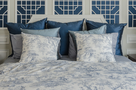 king size: pillows on luxury king size bed in bedroom at home
