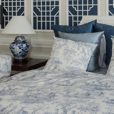king size: pillows on luxury king size bed with lamp in bedroom