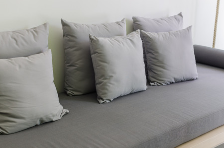 daybed: grey pillows on modern grey daybed