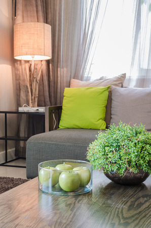 plants in ceramic vase in living room at home