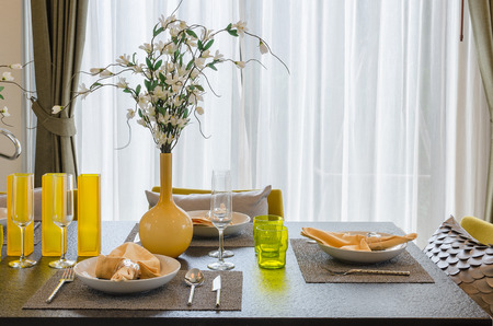 dinning table: table set on dinning table