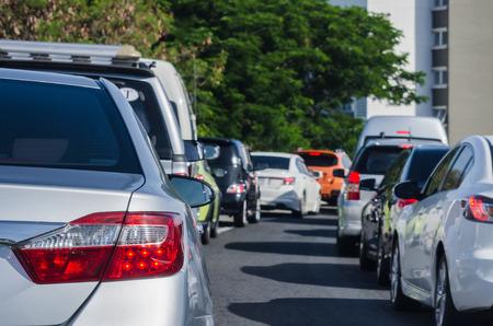 slow lane: traffic jam with many cars