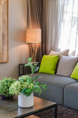 white ceramic vase of plants in living room at home 스톡 콘텐츠