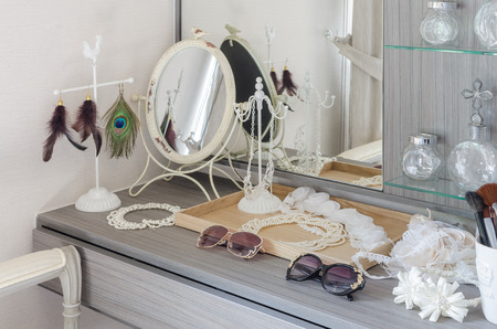 dressing table: grey dressing table with accessories at home