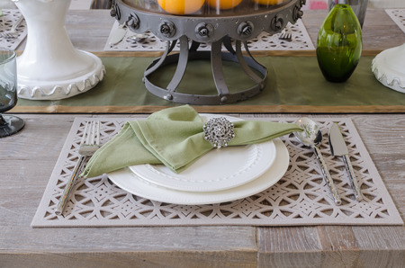 house ware: dinning set on old wooden table at home