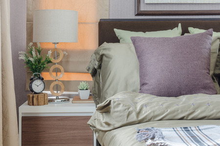 king size: pillows on king size bed with modern white lamp at home