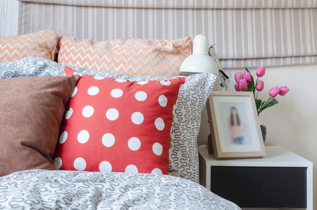 pillow: kids bedroom with colorful pillows on bed at home