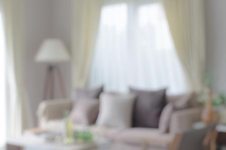 cortinas: borrosidad de la imagen de la moderna sala de estar en casa Foto de archivo