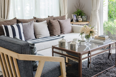 pillows on white sofa in modern living room at home