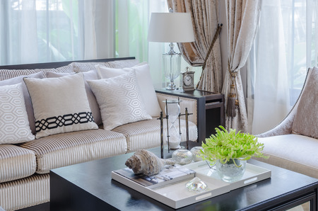 vase of plant on wooden table in luxury living room at home